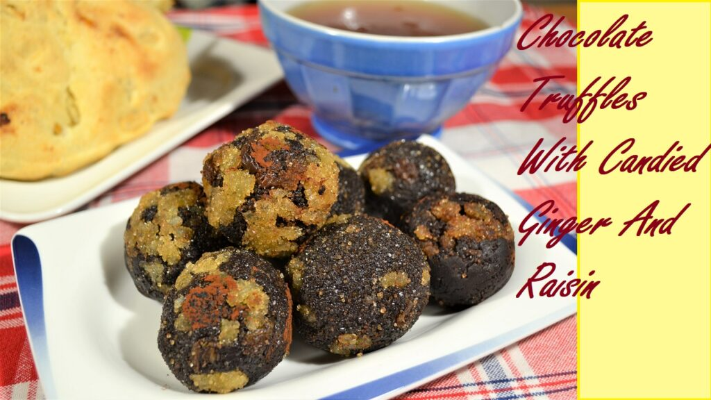 Homemade Delicious Sweet Chocolate Truffles With Candied Ginger And Raisin. No Bake Desserts