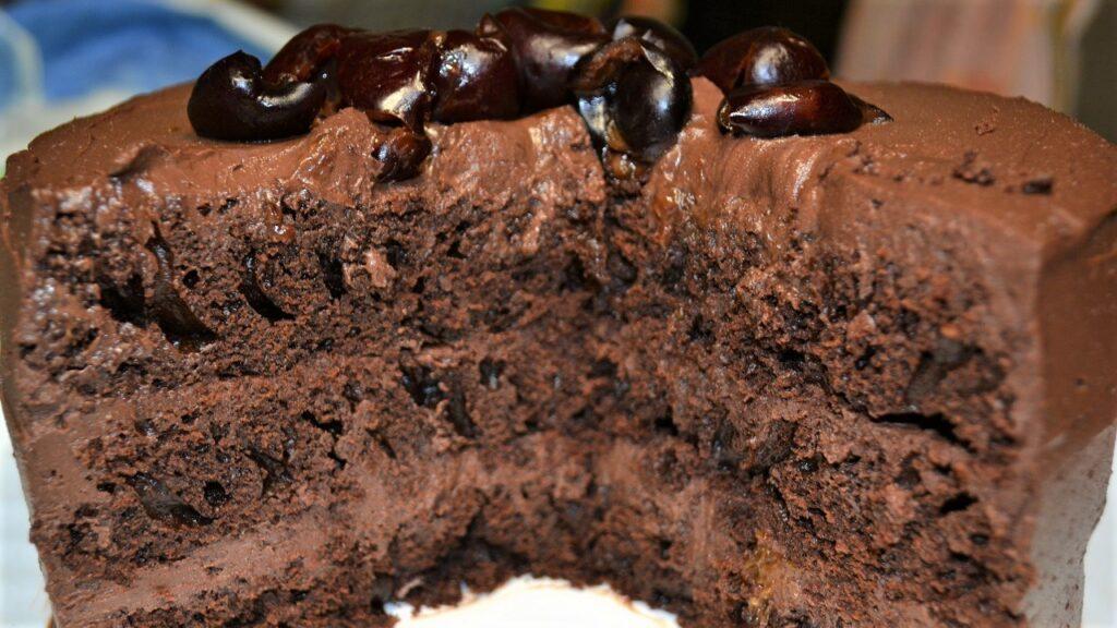 Chocolate cake with fresh chocolate ricotta cream